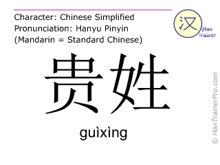 Chinese characters  ( guixing / guìxìng ) with pronunciation (English translation: what's your name )
