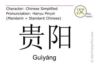 Caracteres chinos  ( Guiyang / Guìyáng ) con pronunciación (traducción española: Guiyang )