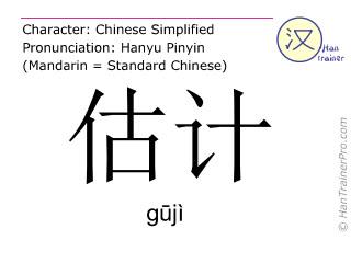Caracteres chinos  ( guji / gūjì ) con pronunciación (traducción española: estimación )