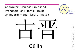 Chinese characters  ( Gu jin / Gŭ jìn ) with pronunciation (English translation: Kuching )