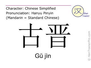 Chinese characters  ( Gu jin / G&#365 jìn ) with pronunciation (English translation: Kuching )