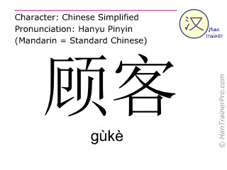 Chinese characters  ( guke / gùkè ) with pronunciation (English translation: customer )