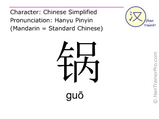 Chinese characters  ( guo / gu&#333 ) with pronunciation (English translation: pot )