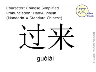 Chinese characters  ( guolai / guòlái ) with pronunciation (English translation: to come over )