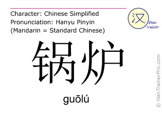 Chinese characters  ( guolu / gu&#333lú ) with pronunciation (English translation: boiler )