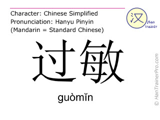 Chinese characters  ( guomin / guòm&#301n ) with pronunciation (English translation: allergy )