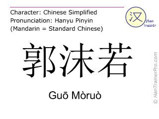 Chinese characters  ( Guo Moruo / Guō Mòruò ) with pronunciation (English translation: Guo Moruo )