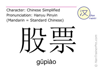 Chinese characters  ( gupiao / g&#365piào ) with pronunciation (English translation: stock )