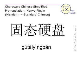 汉字  ( gutaiyingpan / gùtàiyìngpán ) 包括发音 (英文翻译: solid state disk )