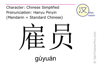 Chinese characters  ( guyuan / gùyuán ) with pronunciation (English translation: employee )
