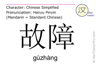 Chinese characters  ( guzhang / gùzhàng ) with pronunciation (English translation: bug )