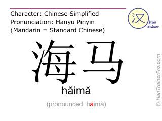 Caractère chinois  ( haima / hăimă ) avec prononciation (traduction française: hippocampe )
