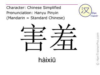 Chinesische Schriftzeichen  ( haixiu / hàixiū ) mit Aussprache (Deutsche Bedeutung: scheu )