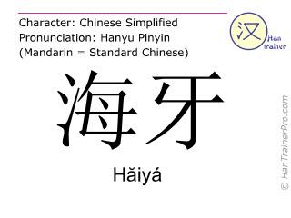Caractère chinois  ( Haiya / Hăiyá ) avec prononciation (traduction française: La Haye )