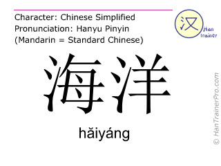 Chinese characters  ( haiyang / hăiyáng ) with pronunciation (English translation: ocean )
