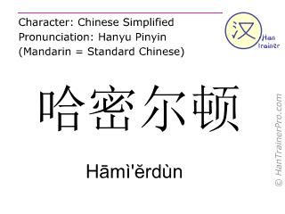 Chinese characters  ( Hami'erdun / H&#257mì'&#277rdùn ) with pronunciation (English translation: Hamilton )