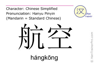 Chinese characters  ( hangkong / hángkōng ) with pronunciation (English translation: airmail )