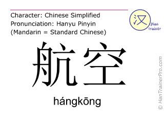 Chinesische Schriftzeichen  ( hangkong / hángkōng ) mit Aussprache (Deutsche Bedeutung: Luftpost )