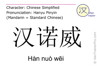 Chinese characters  ( Han nuo wei / Hàn nuò wēi ) with pronunciation (English translation: Hannover )
