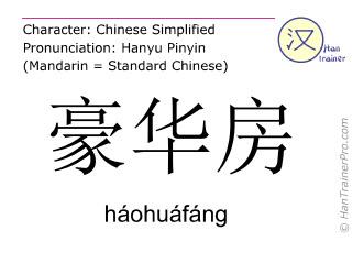 Chinesische Schriftzeichen  ( haohuafang / háohuáfáng ) mit Aussprache (Deutsche Bedeutung: Luxus-Suite )