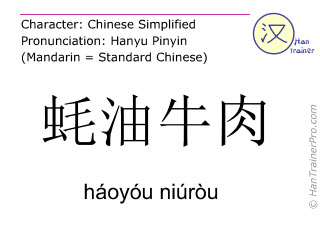 Chinese characters  ( haoyou niurou / háoyóu niúròu ) with pronunciation (English translation: beef in oyster sauce )