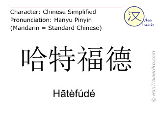 Chinese characters  ( Hatefude / Hātèfúdé ) with pronunciation (English translation: Hartford )