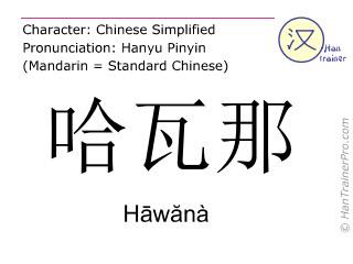 Chinesische Schriftzeichen  ( Hawana / Hāwănà ) mit Aussprache (Deutsche Bedeutung: Havanna )