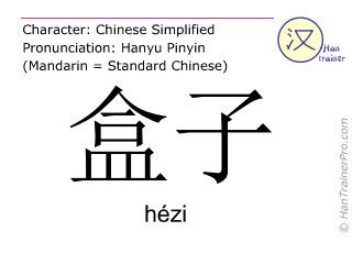 Chinesische Schriftzeichen  ( hezi / hézi ) mit Aussprache (Deutsche Bedeutung: Box )
