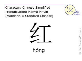 Chinesische Schriftzeichen  ( hong / hóng ) mit Aussprache (Deutsche Bedeutung: rot )