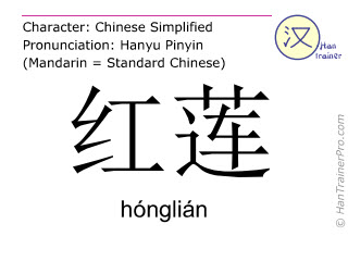 Chinese characters  ( honglian / hónglián ) with pronunciation (English translation: red lotus )