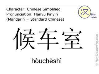 Chinese characters  ( houcheshi / hòuch&#275shì ) with pronunciation (English translation: waiting room )