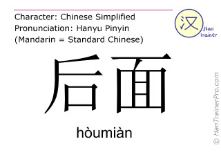 Chinese characters  ( houmian / hòumiàn ) with pronunciation (English translation: behind )