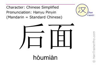 汉字  ( houmian / hòumiàn ) 包括发音 (英文翻译: behind )