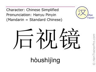 Caracteres chinos  ( houshijing / hòushìjìng ) con pronunciación (traducción española: espejo retrovisor )