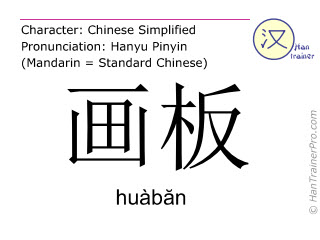Chinese characters  ( huaban / huàbăn ) with pronunciation (English translation: palette )