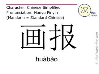 Chinesische Schriftzeichen  ( huabao / huàbào ) mit Aussprache (Deutsche Bedeutung: Illustrierte )