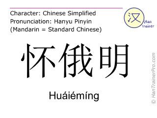 Chinesische Schriftzeichen  ( Huaieming / Huáiémíng ) mit Aussprache (Deutsche Bedeutung: Wyoming )