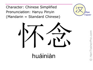 Chinese characters  ( huainian / huáiniàn ) with pronunciation (English translation: to think of )