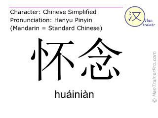 Caracteres chinos  ( huainian / huáiniàn ) con pronunciación (traducción española: pensar en )