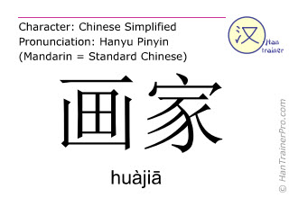 Chinese characters  ( huajia / huàjiā ) with pronunciation (English translation: painter )