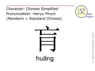 Chinesische Schriftzeichen  ( huang / huāng ) mit Aussprache (Deutsche Bedeutung: Gegend zwischen Herz und Zwerchfell )