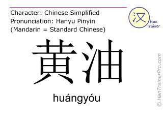 Chinesische Schriftzeichen  ( huangyou / huángyóu ) mit Aussprache (Deutsche Bedeutung: Butter )