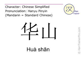 Chinese characters  ( Hua shan / Huà sh&#257n ) with pronunciation (English translation: Hua Shan )