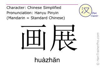 Chinesische Schriftzeichen  ( huazhan / huàzhăn ) mit Aussprache (Deutsche Bedeutung: Kunstausstellung )