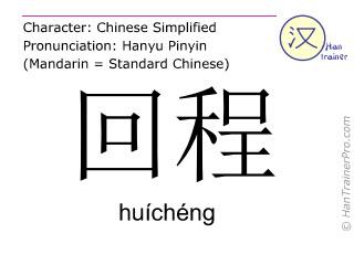 Caractère chinois  ( huicheng / huíchéng ) avec prononciation (traduction française: voyage aller-retour )