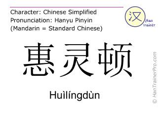 Caractère chinois  ( Huilingdun / Huìlíngdùn ) avec prononciation (traduction française: Wellington )