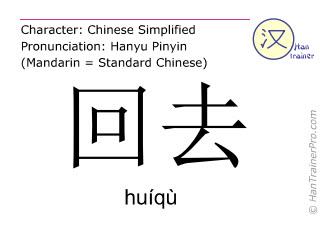 Chinesische Schriftzeichen  ( huiqu / huíqù ) mit Aussprache (Deutsche Bedeutung: zurückgehen )