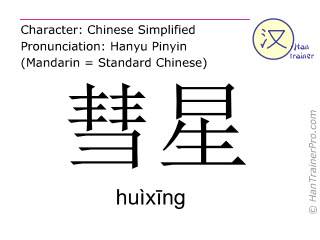 Chinese characters  ( huixing / huìxīng ) with pronunciation (English translation: comet )
