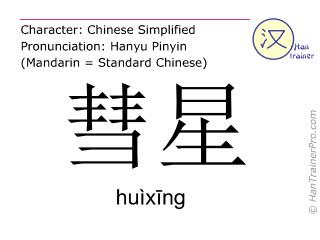 Caracteres chinos  ( huixing / huìxīng ) con pronunciación (traducción española: cometa )