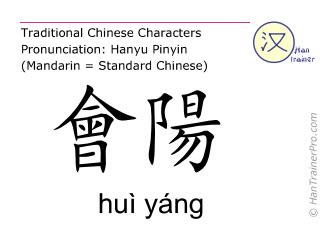 Caractère chinois  ( hui yang / huì yáng ) avec prononciation (traduction française: vessie 35 )